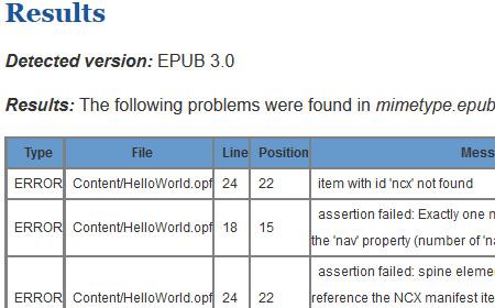 epub_validatorでチェックした結果