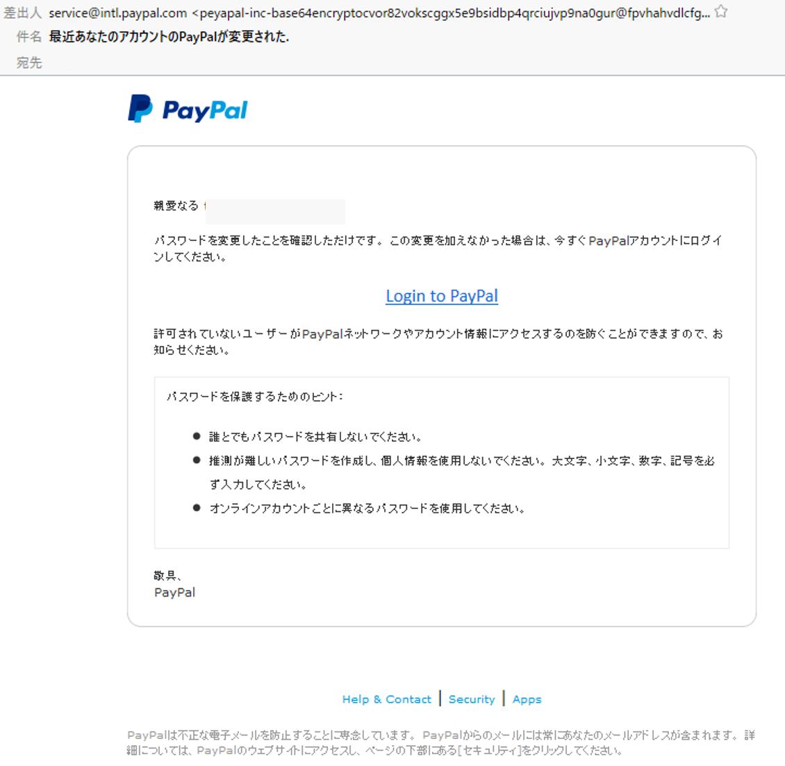 フィッシングメール:最近あなたのアカウントのPayPalが変更された.